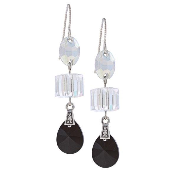 MSDjCASANOVA Silver Three-shape Crystal Earrings