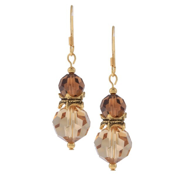 MSDjCASANOVA Gold Overlay Double Decker Brown Crystal Earrings