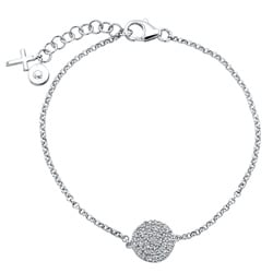 Victoria Kay Sterling Silver 1/4ct TDW Diamond Pave Circle and Cross Bracelet (J-K, I2-I3)