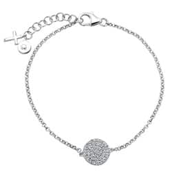 Victoria Kay Sterling Silver 1/4ct TDW Diamond Pave Circle and Cross Bracelet (J-K, I2-I3)|https://ak1.ostkcdn.com/images/products/6328571/Sterling-Silver-1-4ct-TDW-Diamond-Pave-Circle-and-Cross-Bracelet-J-K-I2-I3-P13953257a.jpg?impolicy=medium