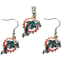 Miami Dolphins Necklace and Dangle Earring Charm Set