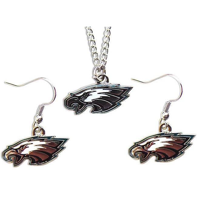 Philadelphia Eagles Necklace and Dangle Earrings Charm Set