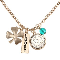 American Coin Treasures Goldtone Rabbit Coin and Lucky Tag Pendant