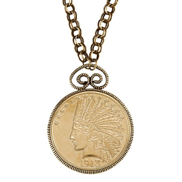 American Coin Treasures $10 Indian Head Eagle Gold Piece Replica Coin Pendant