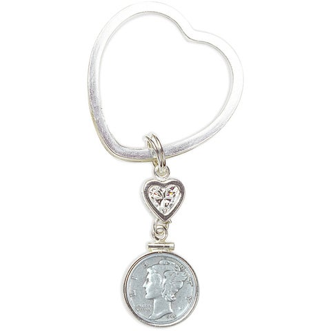 American Coin Treasures Sterling Silver Mercury Dime Coin Heart Keychain