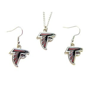 Atlanta Falcons Necklace and Dangle Earrings Charm Set