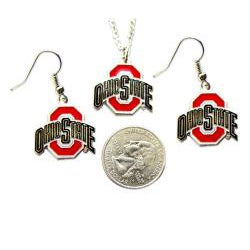 Aminco International Ohio State Buckyes Necklace and Dangle Earrings Set - Thumbnail 1