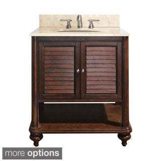 Avanity Tropica 24-inch Single Vanity in Antique Brown Finish with Sink and Top