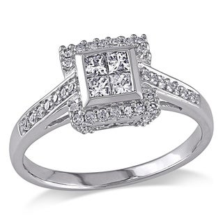 Miadora 10k White Gold 1/2ct TDW Princess Cut Diamond Ring