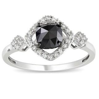 Miadora 10k White Gold 1ct TDW Black and White Diamond Halo Ring