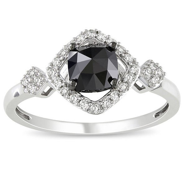 Miadora 10k White Gold 1ct TDW Black and White Diamond Halo Ring (G-H, I2-3)