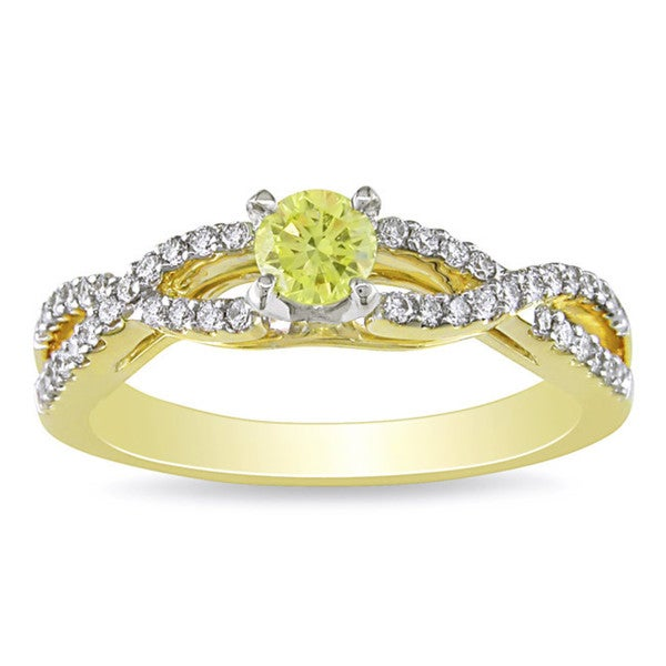 Miadora Signature Collection 18k Yellow Gold 1/2ct TDW Yellow and White Diamond Ring (G-H, SI1-SI2)