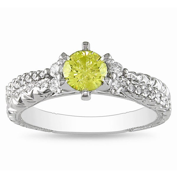 Miadora 18k Gold 3/4ct TDW Yellow and White Diamond Ring