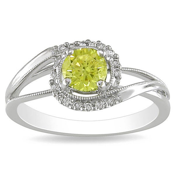 Miadora 18k Gold 1/2ct TDW Yellow and White Diamond Engagement Ring (G-H, SI1-SI2)