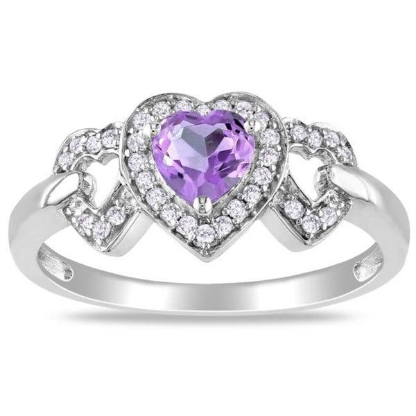 Miadora 10k White Gold Amethyst and 1/8ct TDW Diamond Heart Ring (G-H, I2-I3)