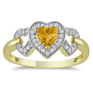 Miadora 10k Yellow Gold 2/5ct TGW Citrine 1/8ct TDW Diamond Heart Ring (G-H, I2-I3)