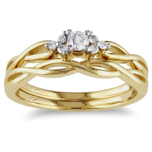 Miadora 10k Yellow Gold 1/6ct TDW Diamond Engagement Bridal Ring Set