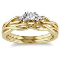 Miadora 10k Yellow Gold 1/6ct TDW Diamond Engagement Bridal Ring Set