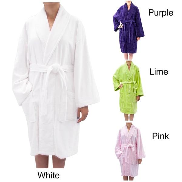 Leisureland Women's Luxury Cotton Terry Velour Tie-Waist Robe