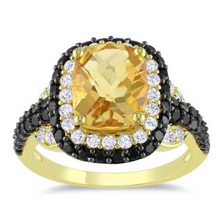 Miadora Yellow Silver Citrine, Spinel and Created Sapphire Ring