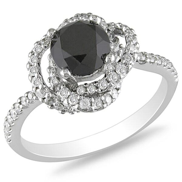 Miadora 14k White Gold 2ct TDW Black and White Diamond Flower Ring