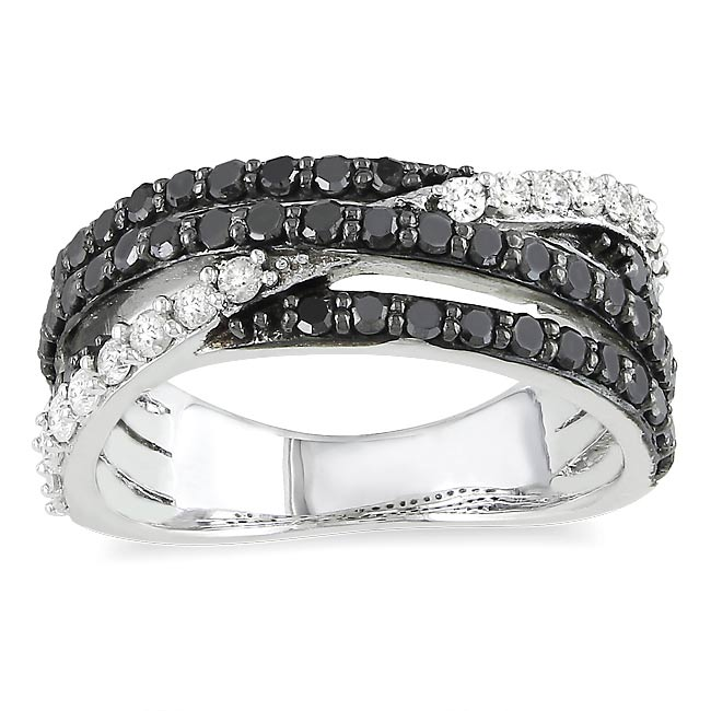 Sterling Silver 1ct TDW Black and White Diamond Ring