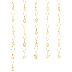 Gold over Silver Diamond Accent Initial Necklace