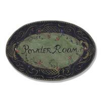 Black Powder Room Plaque Oval