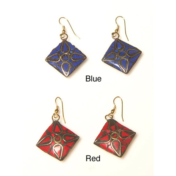 Handmade Brass Natural Stone Inlay Earrings (India)