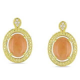 Miadora Goldtone Orange Moonstone and Diamond Accent Earrings