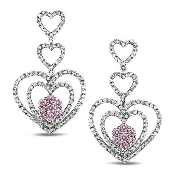 Shira Design 14k White Gold Pink and White Diamond Heart Earrings