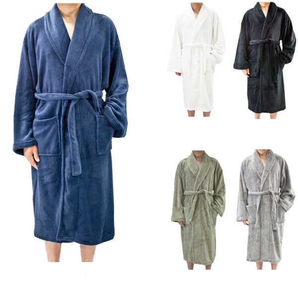 Shop Leisureland Men s Coral Fleece Spa Bath Robe - Free Shipping Today -  Overstock - 6330573 b3f6bd906