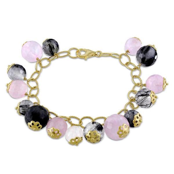 Catherine Catherine Malandrino Pink-Plated Silver Rose and Black Rutilated Quartz Bracelet