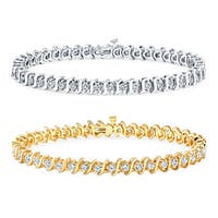 14k Gold 3ct TDW Diamond Link Tennis Bracelet