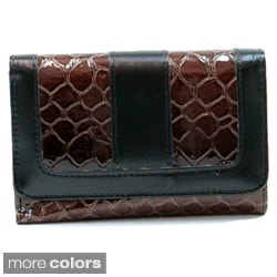 Dasein Faux Leather Embossed Snake Skin Tri-fold Wallet