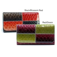 Dasein Faux Leather Embossed Snake Skin Checkbook Wallet