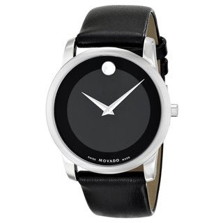 Movado Men's 0606502 'Museum' Black Leather Strap Watch