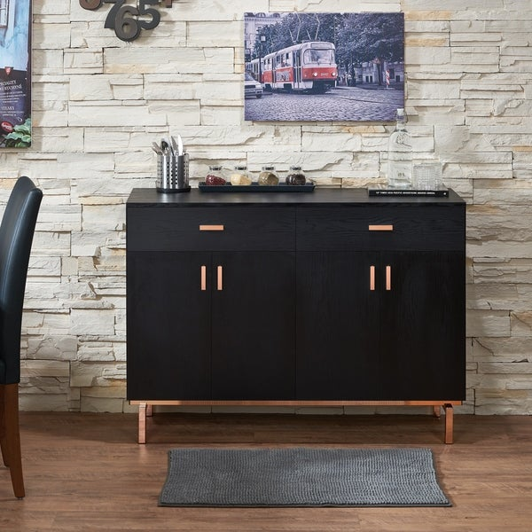 Furniture of America Mason Modern Black 47-inch Solid Wood Buffet