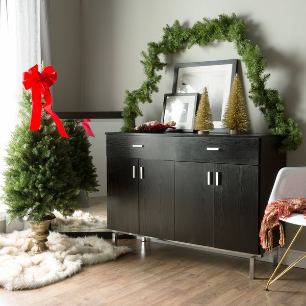 Mason Contemporary Black Buffet By Foa   Chrome by Furniture Of America