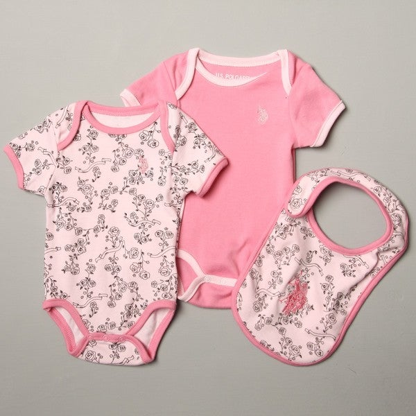 US Polo Association Newborn Girl's Creeper Set