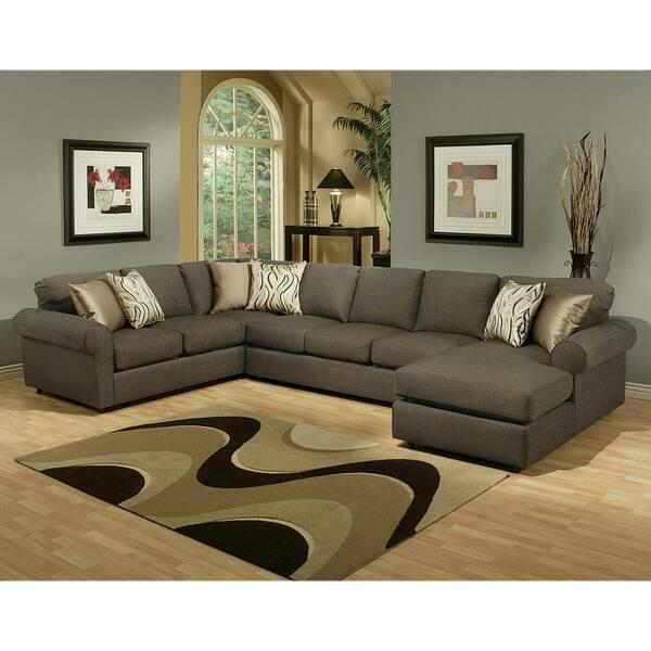 Shop Furniture Of America Keaton Chenille Sectional Sofa