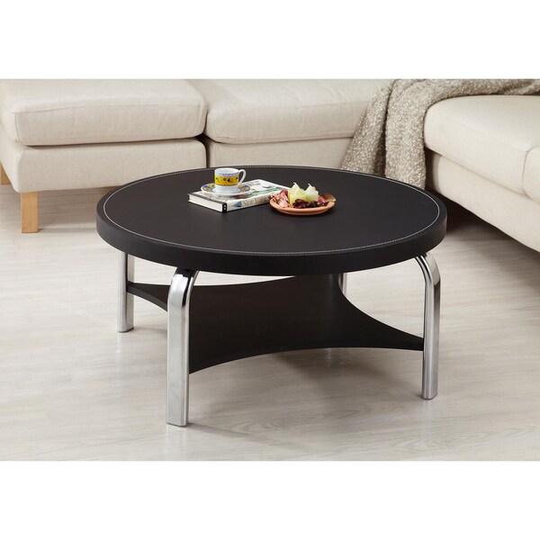 Furniture of America Industrial Black Leatherette Coffee Table