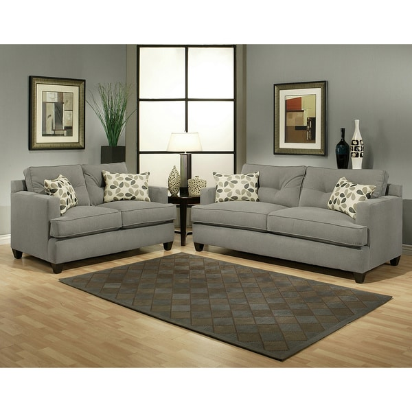 Furniture Of America Nicolas 2 Piece Micro Denier Fabric Sofa And Loveseat Set Free Shipping