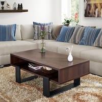 Furniture of America Fayth Dark Walnut/Black Wood Coffee Table