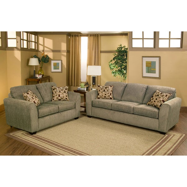 Furniture of America Payson Eco-Friendly Chenille 2-piece Sofa and Loveseat Set