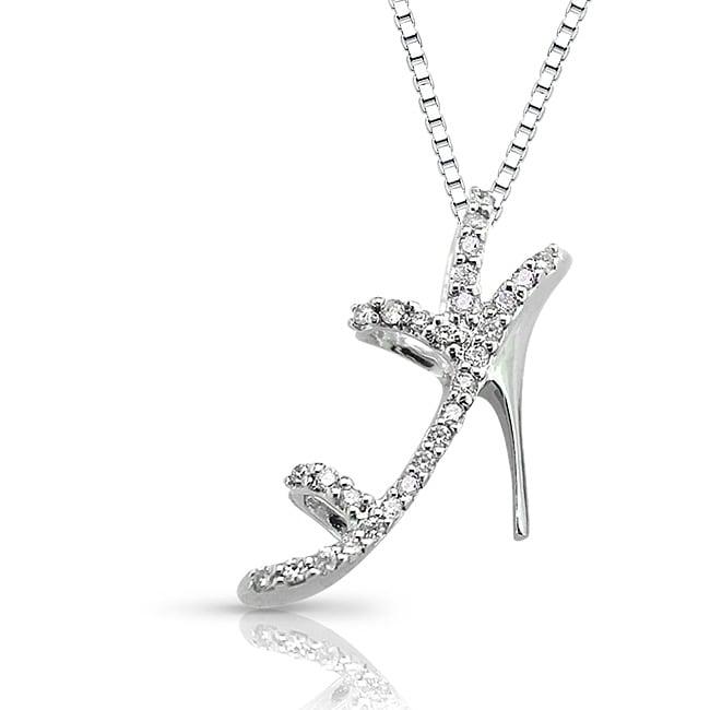 14k White Gold 0.10ct TDW Stiletto Shoe Diamond Necklace