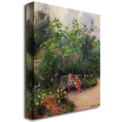 Camille Pissarro 'Gardern at the Hermitage Pontoise 1877' Canvas Art - Thumbnail 1
