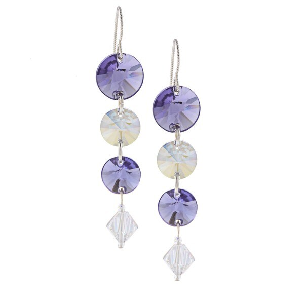 MSDjCASANOVA Purple and White Crystal Earrings