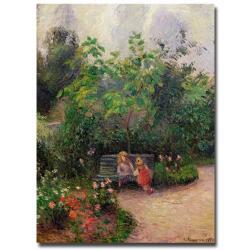 Camille Pissarro 'Gardern at the Hermitage Pontoise 1877' Medium Canvas Art