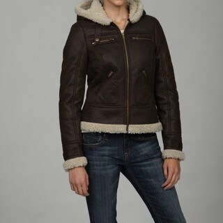 Maralyn and Me Brown Fitted Faux-shearling Hooded Bomber Jacket